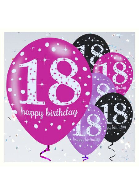 Luftballons Happy Birthday 18 in pink