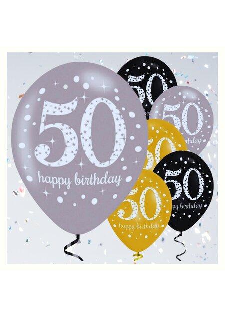 Girlande Luftballons 50 Geburtstag gold schwarz silber Geburtstags Deko Set