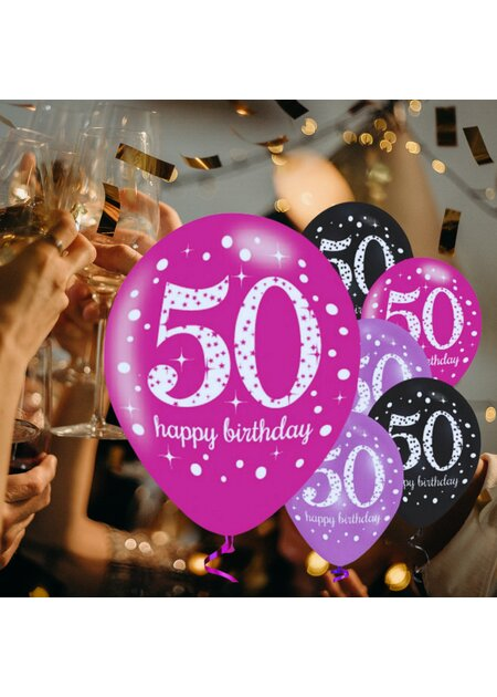 Luftballons Happy Birthday 50 in pink