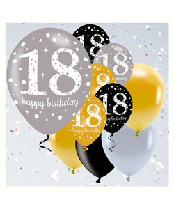 12 Teile Happy Birthday Luftballons 18 in gold