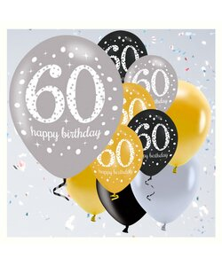 12 Teile Happy Birthday Luftballons 60 in gold