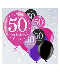 12 Teile Happy Birthday Luftballons 50 in pink