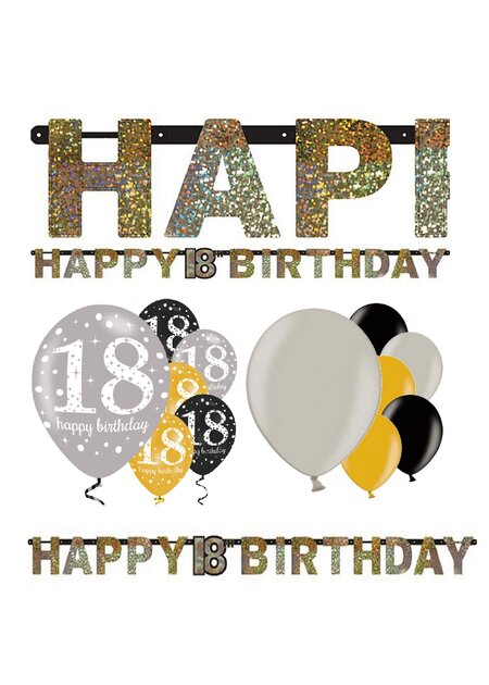13 Teile Happy Birthday Girlande 18 in gold