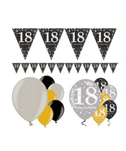 13 Teile Happy Birthday Wimpel 18 in gold