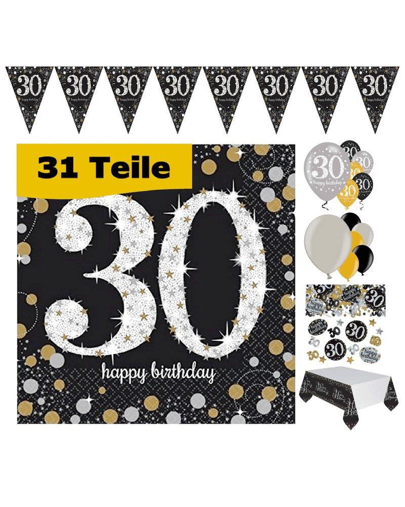 party deko zum 30 geburtstag gold schwarz silber 31 teile rosen. Black Bedroom Furniture Sets. Home Design Ideas