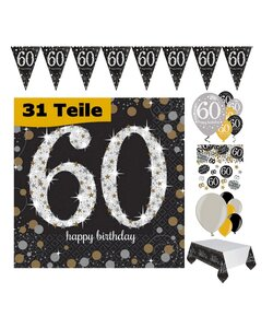 31 Teile Happy Birthday Wimpel 60 in gold