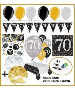31 Teile Happy Birthday Wimpel 70 in gold