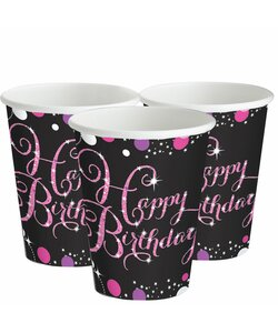 Becher Happy Birthday in pink