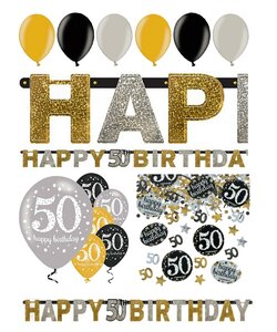 14 Teile Happy Birthday Girlande 50 in gold