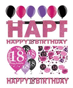 14 Teile Happy Birthday Girlande 18 in pink