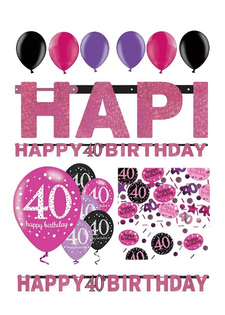 14 Teile Happy Birthday Girlande 40 in pink