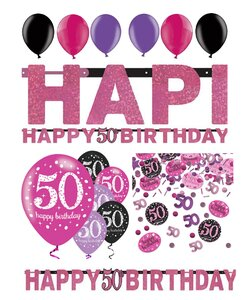 14 Teile Happy Birthday Girlande 50 in pink