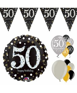 14 Teile Happy Birthday Wimpel 50 in gold