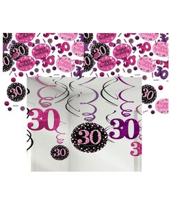 13 Teile Happy Birthday Swirl 30 in pink