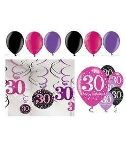 24 Teile Happy Birthday Swirl 30 in pink