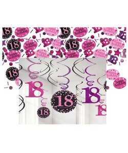 13 Teile Happy Birthday Swirl 18 in pink