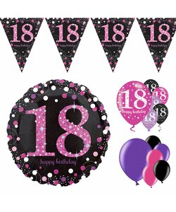 14 Teile Happy Birthday Wimpel 18 in pink