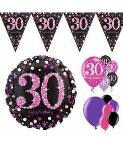 14 Teile Happy Birthday Wimpel 30 in pink