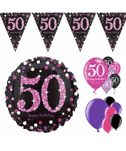 14 Teile Happy Birthday Wimpel 50 in pink