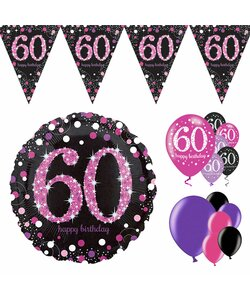 14 Teile Happy Birthday Wimpel 60 in pink