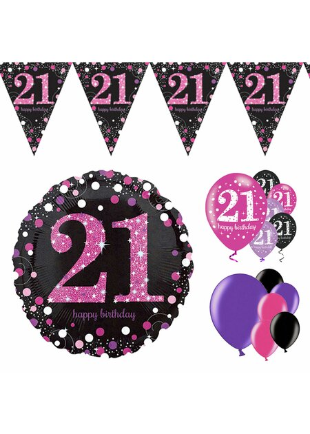 14 Teile Happy Birthday Wimpel 21 in pink