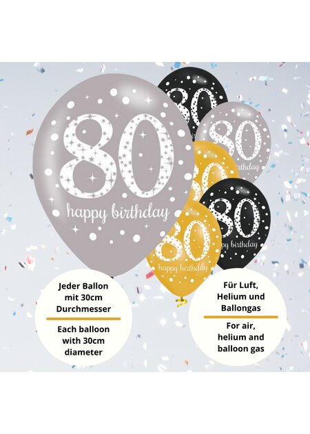 Luftballons Happy Birthday 80 in gold
