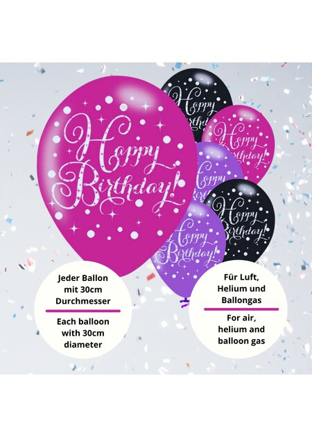 Luftballons Happy Birthday in pink