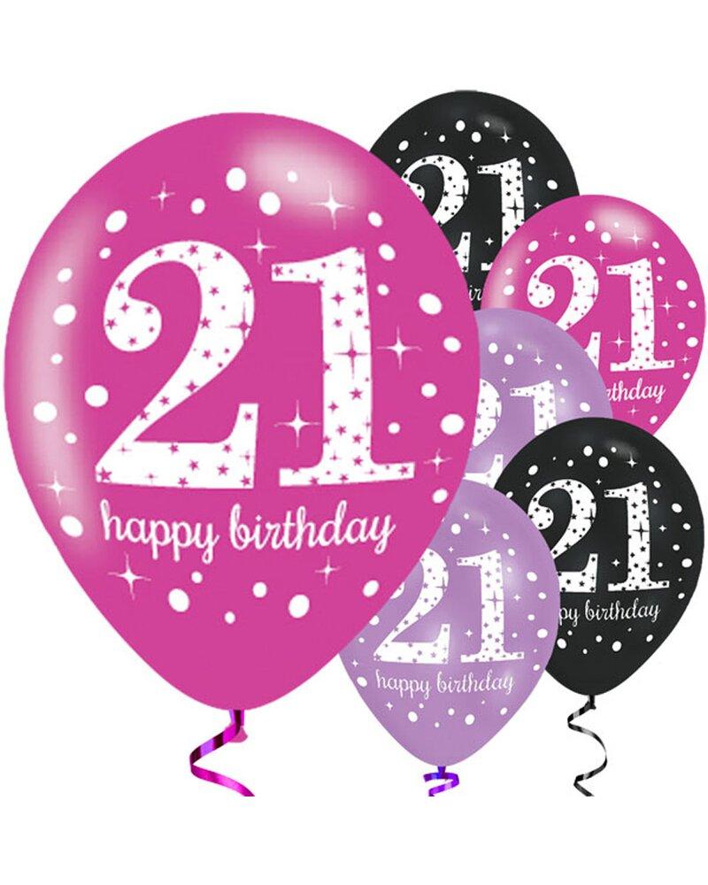 dekorative luftballon geburtstags deko zum 21 geburtstag pink schwar. Black Bedroom Furniture Sets. Home Design Ideas