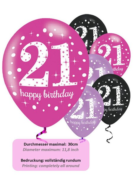 Luftballons Happy Birthday 21 in pink
