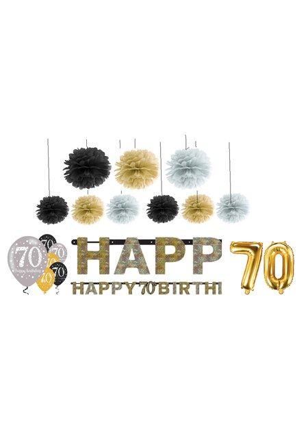 Festefeiern deko zum 70 geburtstag funkelnde pompons - Deko zum 70 geburtstag ...