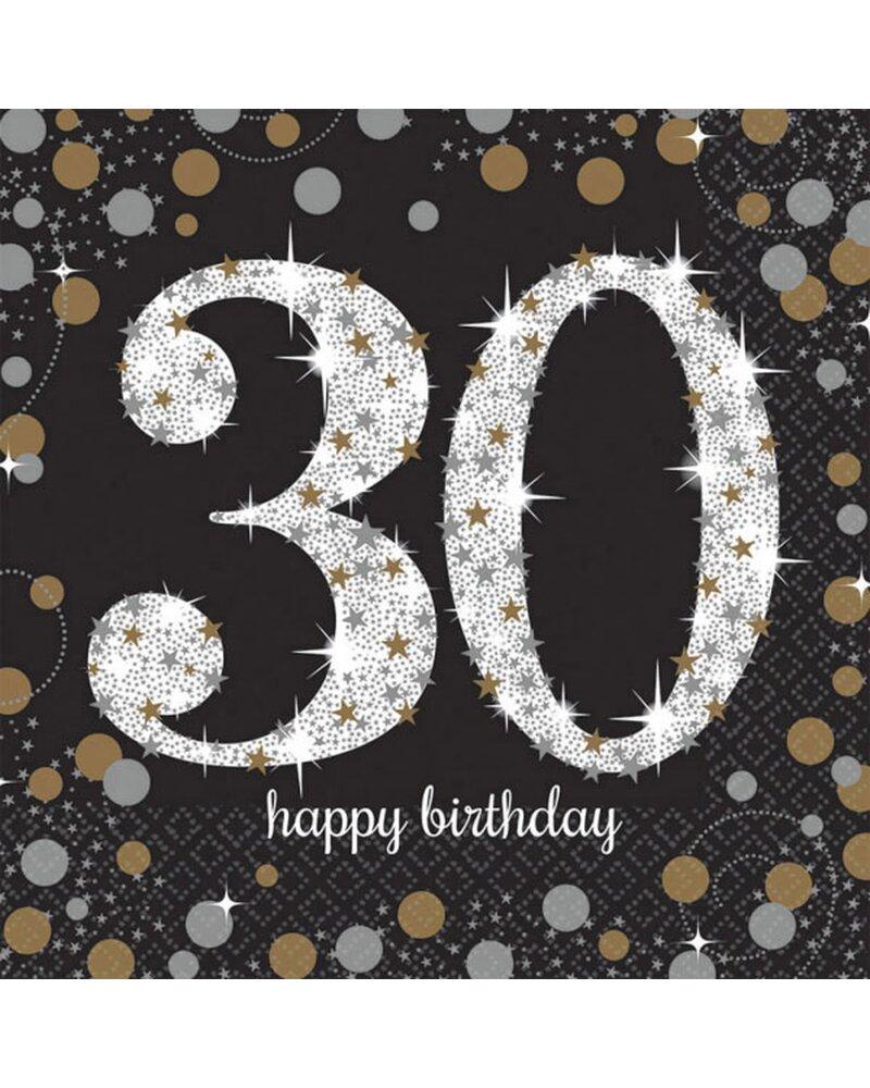Festefeiern Tischdekoration Servietten 16 Teile Deko 30 Geburtstag