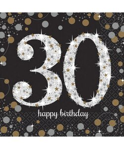 Servietten Happy Birthday 30 in gold