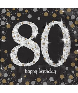 Servietten Happy Birthday 80 in gold