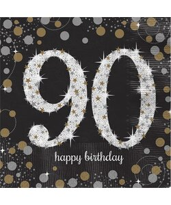 Servietten Happy Birthday 90 in gold