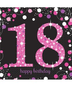 Servietten Happy Birthday 18 in pink