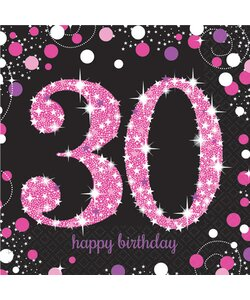 Servietten Happy Birthday 30 in pink