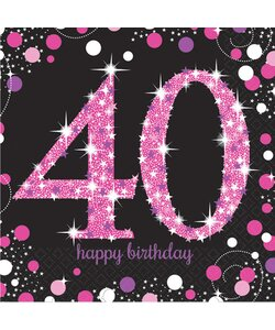 Servietten Happy Birthday 40 in pink
