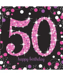 Servietten Happy Birthday 50 in pink