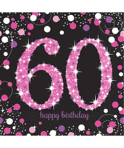 Servietten Happy Birthday 60 in pink