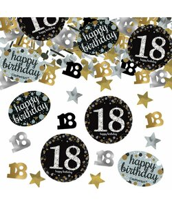 Konfetti Happy Birthday 18 in gold