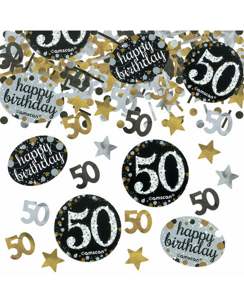 Festefeiern Tischkonfetti Zum 50 Geburtstag Gold Schwarz Silber