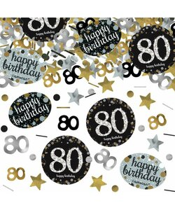 Konfetti Happy Birthday 80 in gold