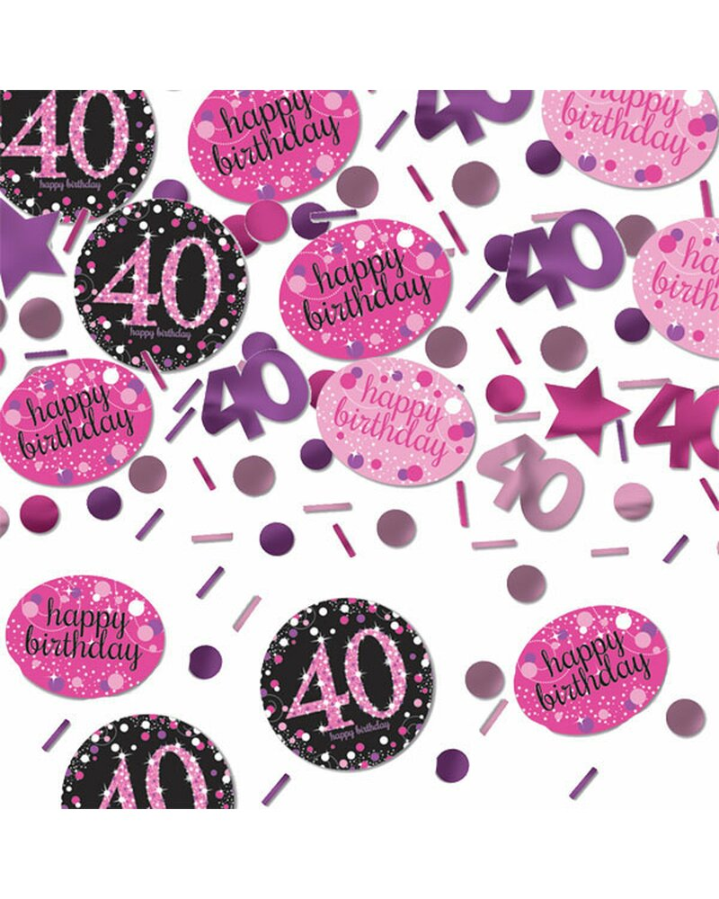 Festefeiern Tischkonfetti Zum 40 Geburtstag Pink Schwarz Violett