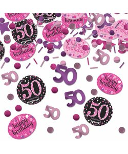 Konfetti Happy Birthday 50 in pink