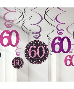 Swirl Happy Birthday 60 in pink