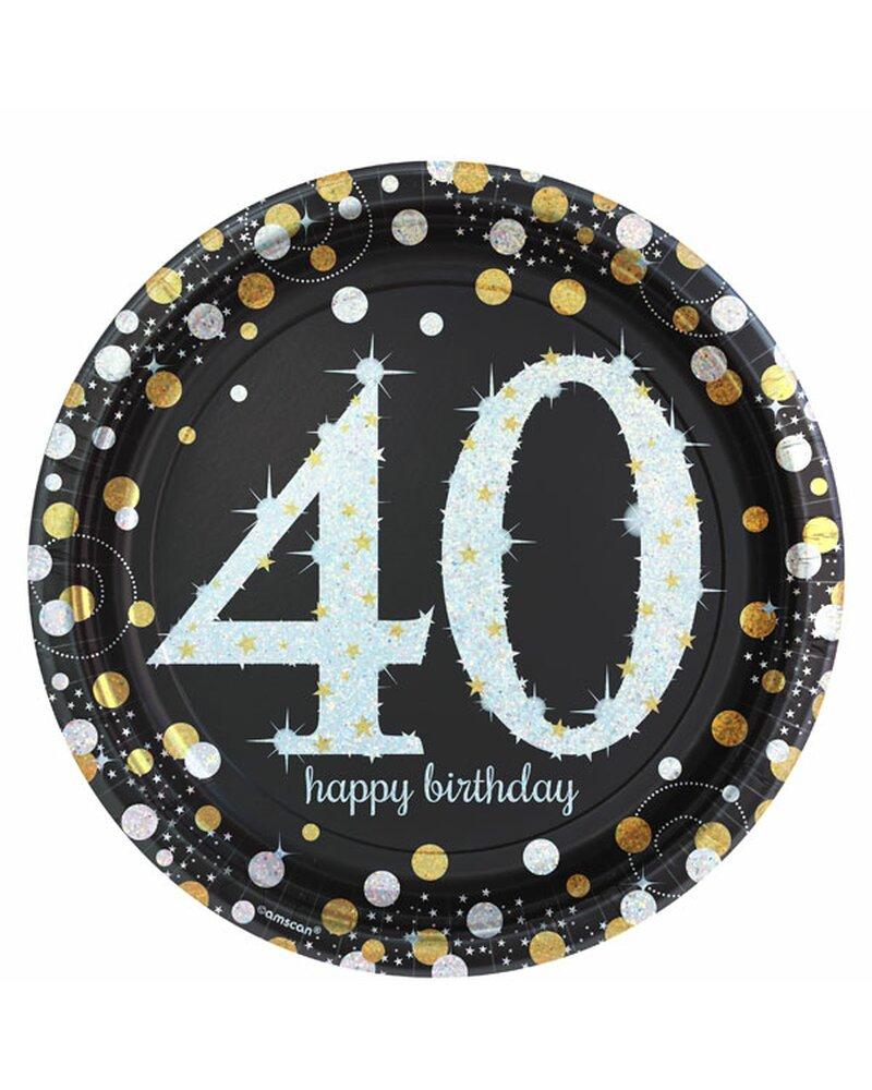 Festefeiern Tischdekoration Teller 8 Teile Deko 40 Geburtstag