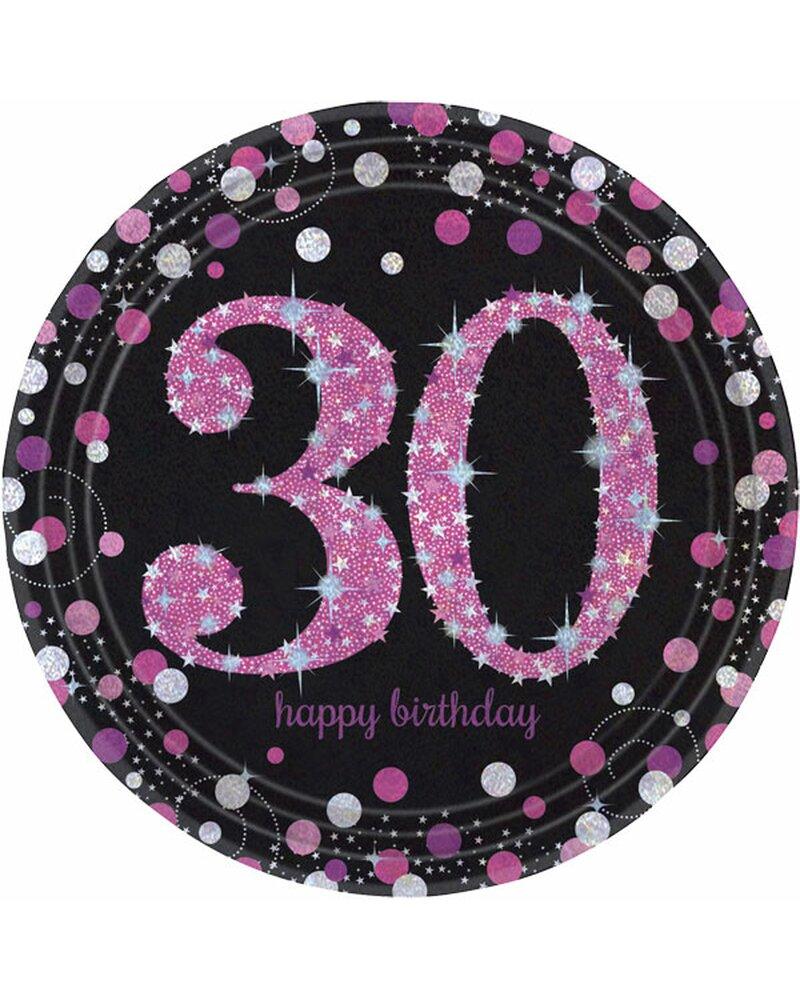 Festefeiern Tischdekoration Teller 8 Teile Deko 30 Geburtstag Pink