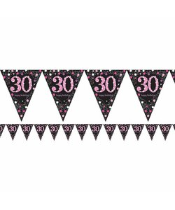 Wimpelkette Happy Birthday 30 in pink