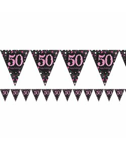 Wimpelkette Happy Birthday 50 in pink