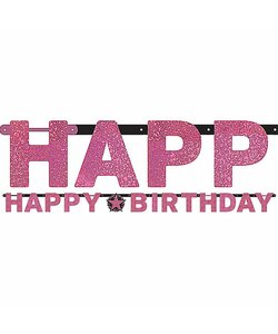 Girlande Happy Birthday in pink